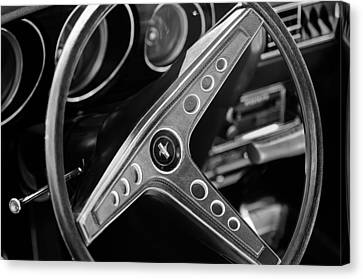 1969 Ford Mustang Mach 1 Steering Wheel Emblem Canvas Print by Jill Reger