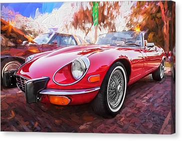 1975 Jaguar Xke V12 Convertible Painted  Canvas Print by Rich Franco