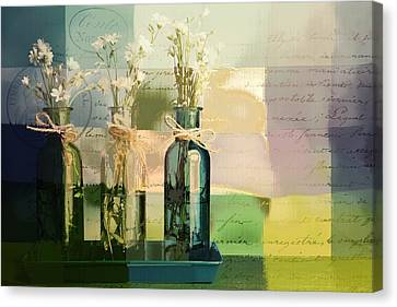 1-2-3 Bottles - J091112137 Canvas Print by Variance Collections