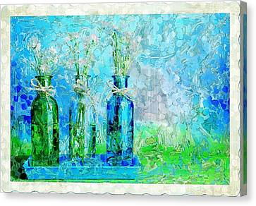 1-2-3 Bottles - S13ast Canvas Print by Variance Collections