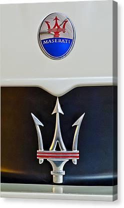 2005 Maserati Mc12 Hood Emblem Canvas Print by Jill Reger