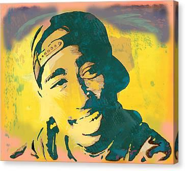 2pac Tupac Shakur Stylised Pop Art Poster Canvas Print by Kim Wang