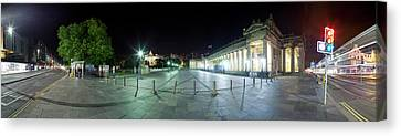 360 Degree View Of A City At Night Canvas Print by Panoramic Images