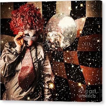 70s Dj Clown Spinning A Nightclub Turntable Canvas Print by Jorgo Photography - Wall Art Gallery