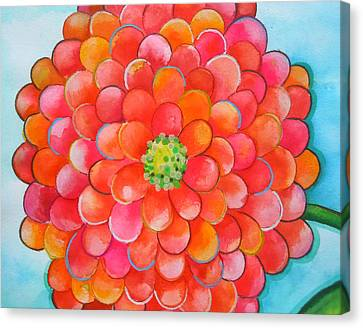 A Burst Of Zinnia Canvas Print by Roleen  Senic