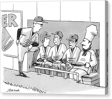 A Coach Is Standing By A Baseball Dugout Canvas Print by Joe Dator
