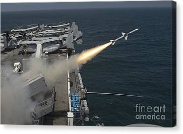A Rim-7 Sea Sparrow Missile Is Launched Canvas Print by Stocktrek Images