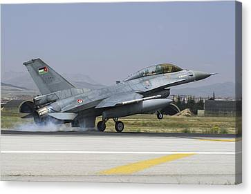 A Royal Jordanian Air Force F-16bm Canvas Print by Daniele Faccioli