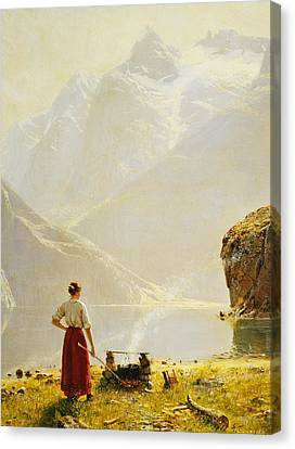 A Summer Day On A Norwegian Fjord Canvas Print by Hans Dahl
