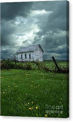 Abandoned Building In A Storm Canvas Print by Jill Battaglia