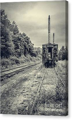 Abandoned Burnt Out Train Cars Canvas Print by Edward Fielding