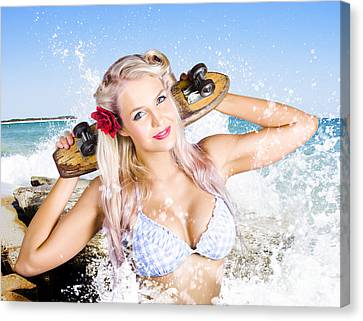 Active Sexy Summer Beach Babe With Skateboard Canvas Print by Jorgo Photography - Wall Art Gallery