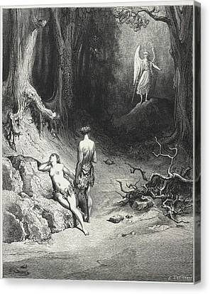 Adam And Eve In The Garden Of Eden Canvas Print by British Library