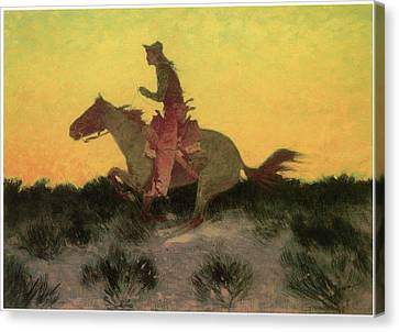 Against The Sunset Canvas Print by Frederic Remington