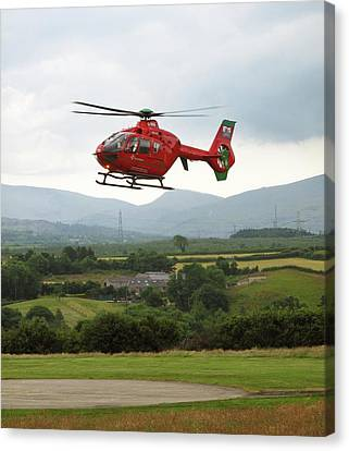 Air Ambulance Taking Off From Helipad Canvas Print by Cordelia Molloy