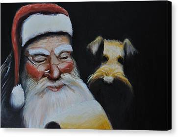 Airedale Christmas Canvas Print by Ruben Barbosa