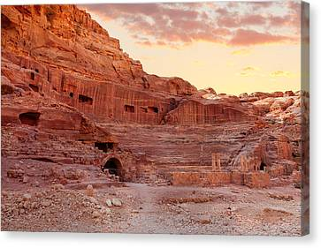 Amphitheater In Petra Canvas Print by Alexey Stiop
