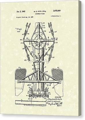 Amusement Ride 1962 Patent Art Canvas Print by Prior Art Design