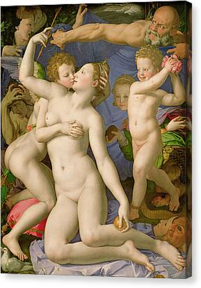 An Allegory With Venus And Cupid Canvas Print by Agnolo Bronzino