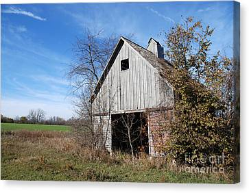 An Old Rundown Abandoned Wooden Barn Under A Blue Sky In Midwestern Illinois Usa Canvas Print by Paul Velgos