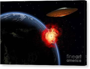 An Orbiting Ufo Launches A Deadly Canvas Print by Mark Stevenson