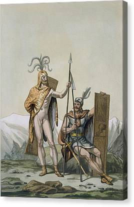 Ancient Celtic Warriors Dressed Canvas Print by Italian School