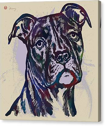 Animal Pop Art Etching Poster - Dog 13 Canvas Print by Kim Wang