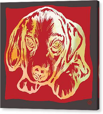 Animal Pop Art Etching Poster - Dog 2 Canvas Print by Kim Wang