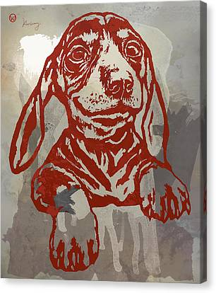 Animal Pop Art Etching Poster - Dog 5 Canvas Print by Kim Wang