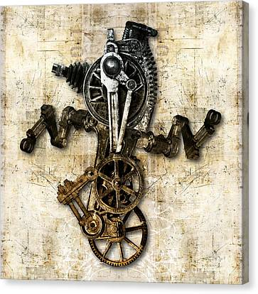 Antique Mechanical Figure Canvas Print by Diuno Ashlee
