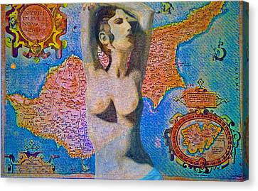Aphrodite And Ancient Cyprus Map Canvas Print by Augusta Stylianou