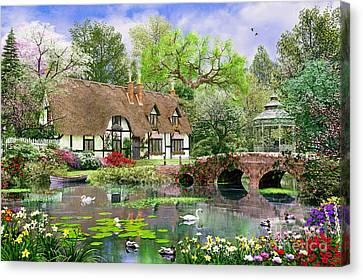 April Cottage Canvas Print by Dominic Davison