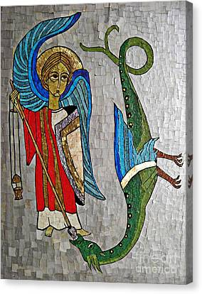 Archangel Michael And The Dragon    Canvas Print by Sarah Loft