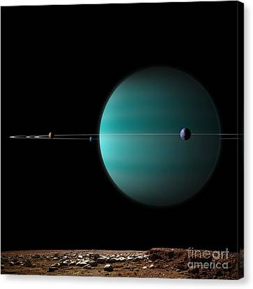 Artists Depiction Of A Ringed Gas Giant Canvas Print by Marc Ward
