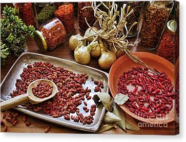 Assorted Spices Canvas Print by Carlos Caetano