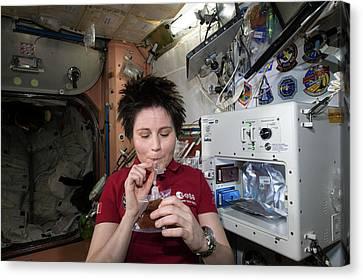 Astronaut Samantha Cristoforetti On Iss Canvas Print by Nasa
