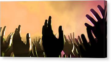 Audience Hands And Lights At Concert Canvas Print by Allan Swart
