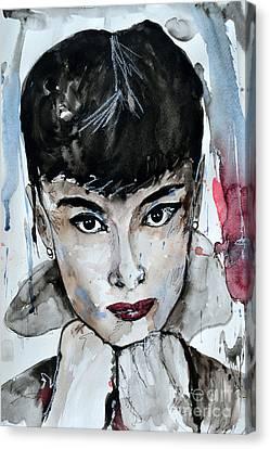 Audrey Hepburn - Abstract Art Canvas Print by Ismeta Gruenwald