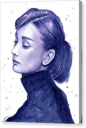 Audrey Hepburn Portrait Canvas Print by Olga Shvartsur