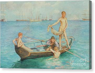 August Blue Canvas Print by Henry Scott Tuke