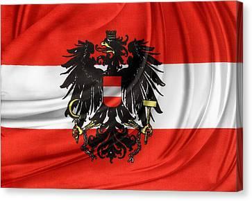 Austrian Flag Canvas Print by Les Cunliffe