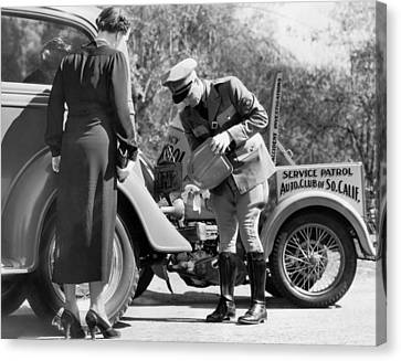 Auto Service Patrol Gives Aid Canvas Print by Underwood Archives