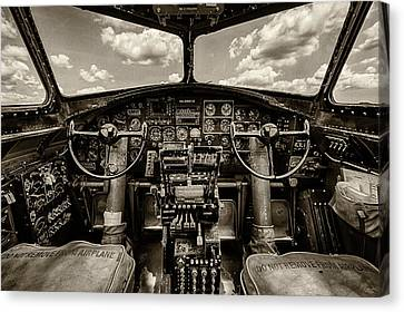 Cockpit Of A B-17 Canvas Print by Mike Burgquist