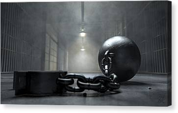 Ball And Chain In Prison Canvas Print by Allan Swart