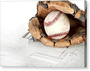 Baseball And Mitt Canvas Print by Jennifer Huls