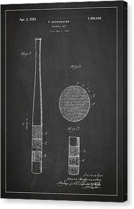 Baseball Bat Patent Drawing From 1920 Canvas Print by Aged Pixel
