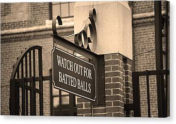 Baseball Warning Canvas Print by Frank Romeo
