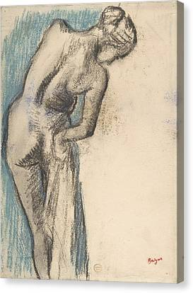 Bather Drying Herself Canvas Print by Edgar Degas