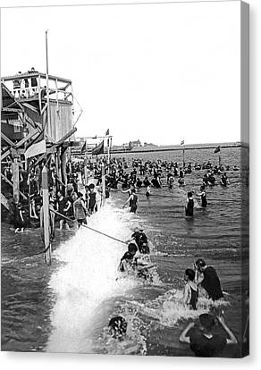 Bathers At Coney Island Canvas Print by Underwood Archives