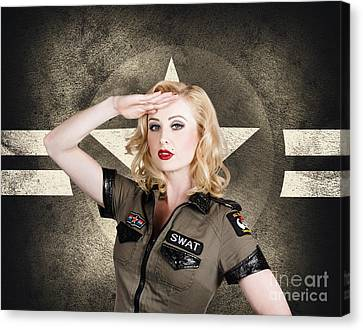 Beautiful Pinup Girl In Vintage And Retro Fashion Canvas Print by Jorgo Photography - Wall Art Gallery